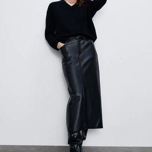 Danier long leather adjustable skirt